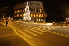 Christmas tree standing in front of the Coloseum at night