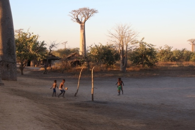 Kids playing football next to the trees