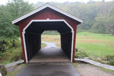 Small covered bridge in the park