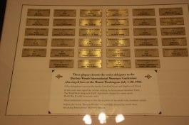 Plaque of participants