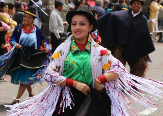 Solstide parade, old town Quito